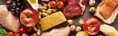 Photo for Panoramic shot of raw meat, poultry and fish with cheese, peanuts, fruits and vegetable - Royalty Free Image