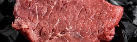 Photo for Panoramic shot of fresh raw beef fillet on coal pieces - Royalty Free Image