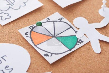 Photo pour Cartes avec diagramme de tarte épinglé sur le panneau de bureau de liège - image libre de droit