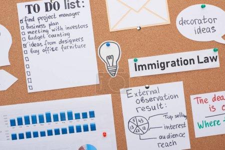 Photo pour Vue du dessus des cartes avec des tâches de travail et des notes épinglées sur le panneau de liège de bureau - image libre de droit