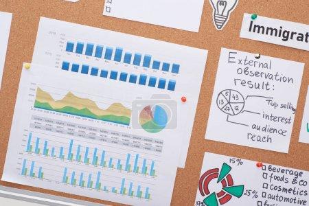Photo pour Vue du dessus des cartes avec des tableaux de travail et des diagrammes épinglés sur le panneau de liège de bureau - image libre de droit
