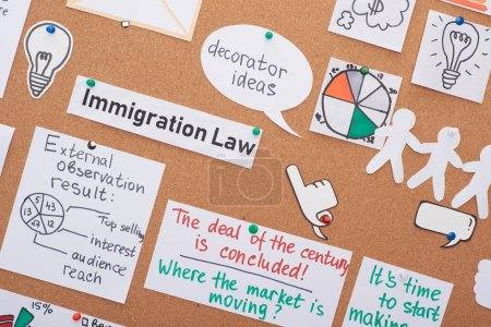 Photo pour Vue du haut des cartes avec des notes de travail épinglées sur le panneau de liège de bureau - image libre de droit