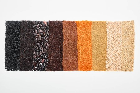 Photo for Top view of assorted black beans, rice, quinoa, buckwheat, chickpea and red lentil isolated on white - Royalty Free Image