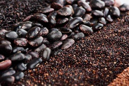 Nahaufnahme von Wildreis, schwarzen Bohnen und Quinoa