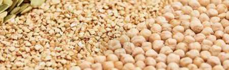 Photo for Panoramic shot of raw buckwheat and chickpea - Royalty Free Image