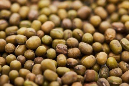 Nahaufnahme von rohen grünen Mungbohnen