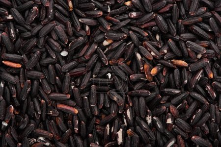 Photo for Top view of uncooked organic black rice - Royalty Free Image