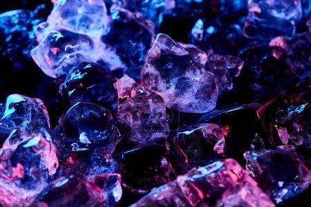 Photo pour Glaçons transparents avec lumière violette isolé sur le noir - image libre de droit