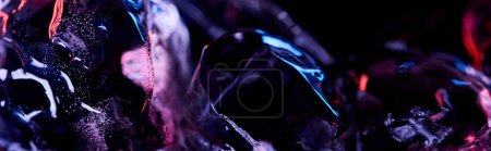 Photo for Panoramic shot of transparent ice cubes with purple colorful lighting isolated on black - Royalty Free Image