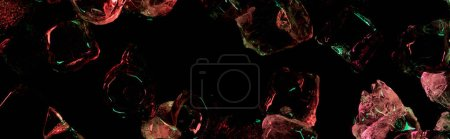 Photo for Panoramic shot of clear ice cubes with red and green colorful lighting isolated on black - Royalty Free Image