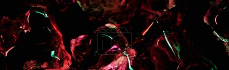 Photo for Panoramic shot of clear ice cubes with red and green light isolated on black - Royalty Free Image