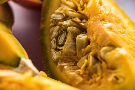close up view of ripe pumpkin piece