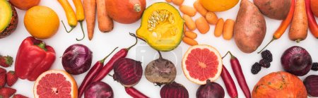 Photo for Panoramic shot of colorful fresh vegetables and fruits on white background - Royalty Free Image