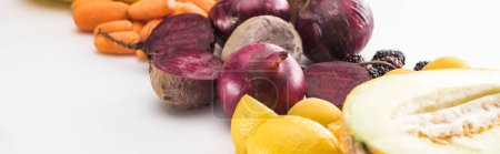 Photo for Panoramic shot of red onions, beetroots, carrots and melon on white background - Royalty Free Image