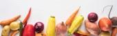 """Постер, картина, фотообои """"панорамный снимок красочных свежих овощей на белом фоне"""""""