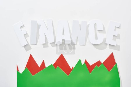 Photo for Top view of finance inscription with red and green statistic graphs on white background - Royalty Free Image