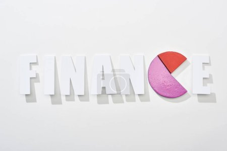Foto de Vista superior de la inscripción financiera con diagrama pastel rojo y rosa en lugar de letra e sobre fondo blanco - Imagen libre de derechos