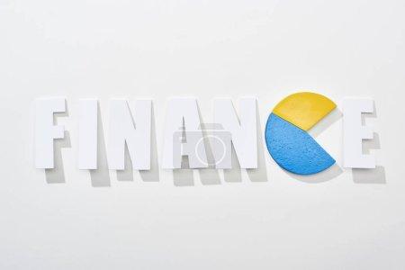 Foto de Vista superior de la inscripción financiera con diagrama pastel amarillo y azul en lugar e letra sobre fondo blanco - Imagen libre de derechos