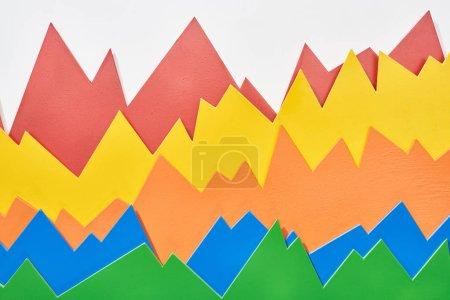 Photo pour Vue du haut des graphiques analytiques multicolores sur fond blanc - image libre de droit
