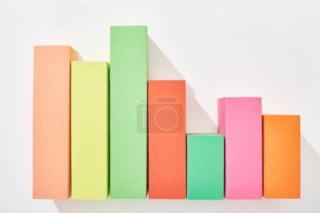 Foto de Vista superior del gráfico analítico multicolor sobre fondo blanco - Imagen libre de derechos