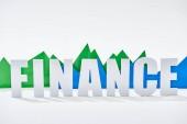 """Постер, картина, фотообои """"зеленый и синий графики статистики за финансов надпись на белом фоне"""""""