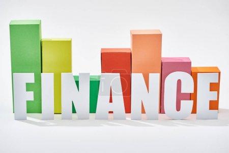 Foto de Gráfico de bloques de color detrás de la inscripción financiera sobre fondo blanco - Imagen libre de derechos