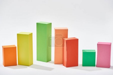 color blocks of statistic chart with shadow on white background