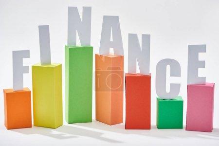 Foto de Finanzas inscripción de gráfico de bloque de color con sombra sobre fondo blanco - Imagen libre de derechos