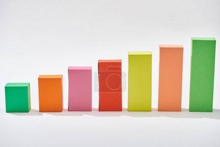 Foto de Bloques de colores del gráfico estadístico sobre fondo blanco - Imagen libre de derechos