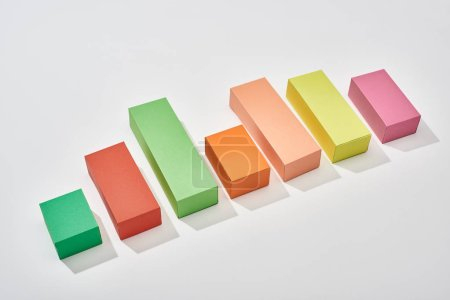 Photo for Multicolor blocks of increase chart with shadow on white background - Royalty Free Image