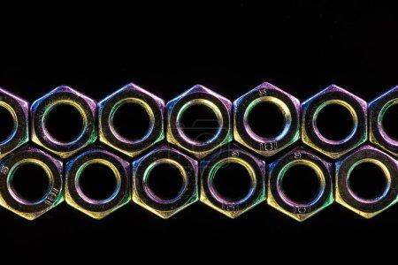 seamless metal screws pattern isolated on black