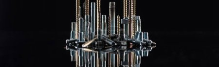 Photo for Panoramic shot of various shiny metallic screws isolated on black with copy space - Royalty Free Image