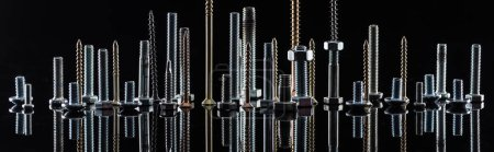 Photo for Panoramic shot of diverse spotless metallic screws isolated on black - Royalty Free Image
