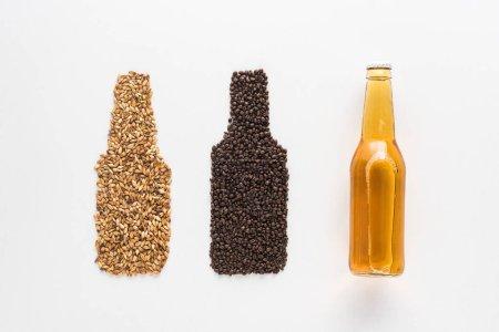 Draufsicht auf eine Flasche helles Bier in der Nähe von Weizen und Kaffeekörnern isoliert auf weißem Grund
