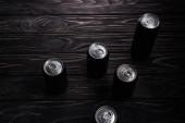"""Постер, картина, фотообои """"алюминиевые банки пива на деревянном столе с копировальной"""""""