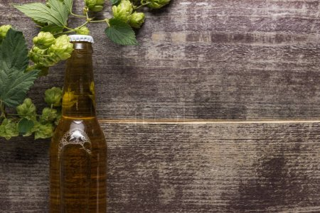 top view of fresh beer in bottle with hop on wooden background