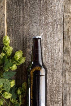 vue du dessus de la bière avec houblon vert sur fond en bois