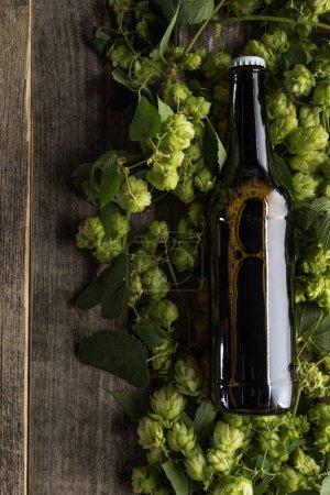 Photo pour Vue supérieure de la bière dans la bouteille brune sur le houblon vert sur le fond en bois - image libre de droit