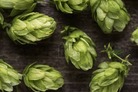 Photo for Top view of green hop on wooden table - Royalty Free Image