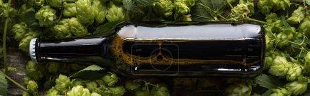 Photo pour Vue supérieure de la bière dans la bouteille brune sur le houblon vert sur le fond en bois, projectile panoramique - image libre de droit