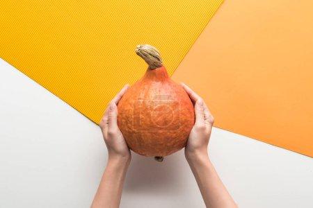 Photo pour Vue recadrée de femme retenant la citrouille mûre sur le fond blanc et orange - image libre de droit