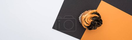 Photo for Top view of delicious Halloween cupcake on black, orange and white background with copy space, panoramic shot - Royalty Free Image