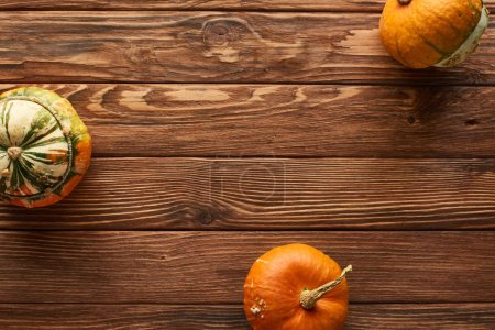 Photo pour Vue de dessus des petites citrouilles crues sur la surface en bois brun avec espace de copie - image libre de droit