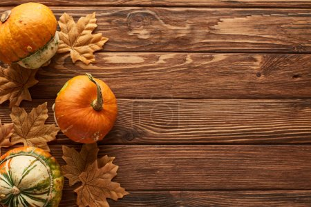 Photo for Top view of small pumpkins on brown wooden surface with dried autumn leaves - Royalty Free Image