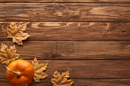 Photo for Top view of small pumpkin on brown wooden surface with dried autumn leaves - Royalty Free Image