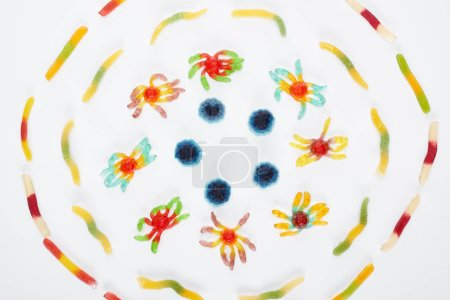Photo for Top view of colorful gummy spiders and worms in circle isolated on white, Halloween treat - Royalty Free Image