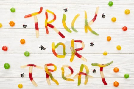 Photo for Top view of trick or treat lettering made of colorful gummy sweets on white wooden table with spiders and bonbons, Halloween treat - Royalty Free Image