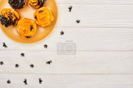 Photo for Top view of orange plate with cupcakes and spiders on white wooden table, Halloween treat - Royalty Free Image