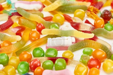 Photo for Close up view of colorful gummy spooky Halloween sweets - Royalty Free Image
