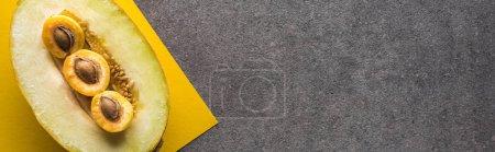 Photo pour Vue de dessus du melon et des abricots sur fond jaune et gris avec espace de copie, vue panoramique - image libre de droit